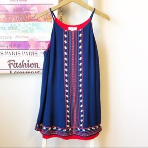 THML Embroidered Spaghetti straps blue and red Top